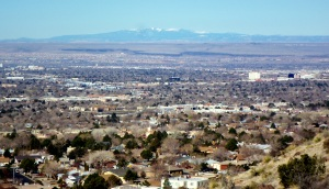 As viewed from the Sandias, 90 miles away.